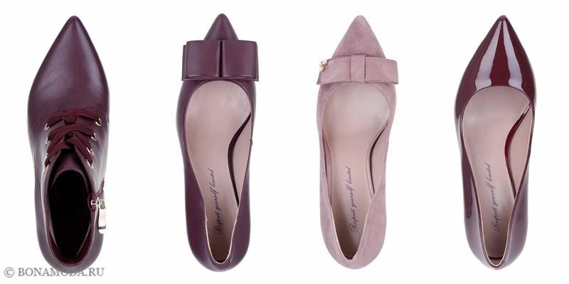 Коллекция обуви Respect осень-зима 2017-2018 - бордоые и розовые остроносые