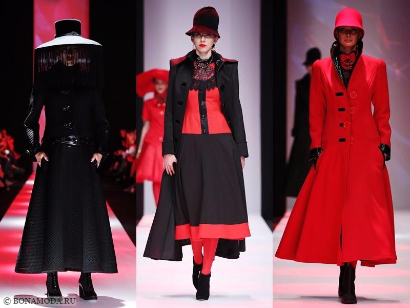 Коллекция Slava Zaitsev весна-лето 2018 - образы в красном и чёрном со шляпками
