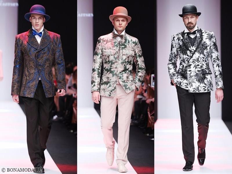 Коллекция Slava Zaitsev весна-лето 2018 - однотонные брюки и пиджаки с цветочным принтом