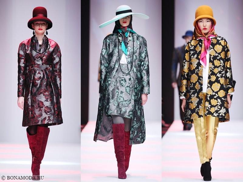 Коллекция Slava Zaitsev весна-лето 2018 - пальто с принтом, ботфорты и шляпы
