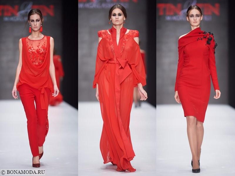 Коллекция Tinatin Magalashvili весна-лето 2018 - красный костюм с брюками и платья