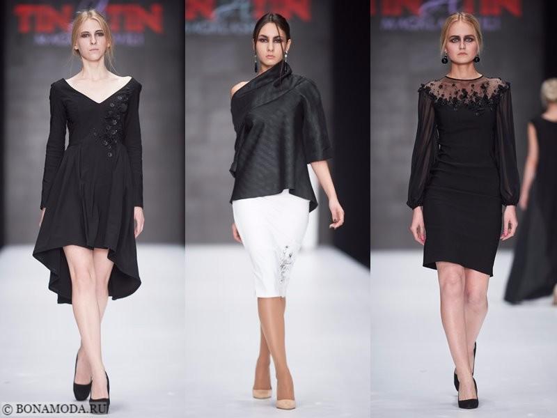 Коллекция Tinatin Magalashvili весна-лето 2018 - чёрные коктейльные платья и блуза с белой юбкой-карандаш