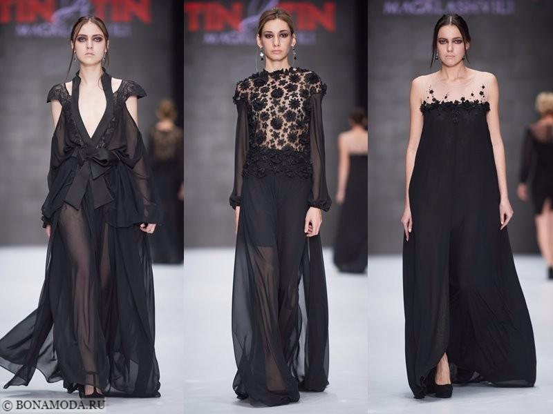Коллекция Tinatin Magalashvili весна-лето 2018 - длинные вечерние чёрные платья