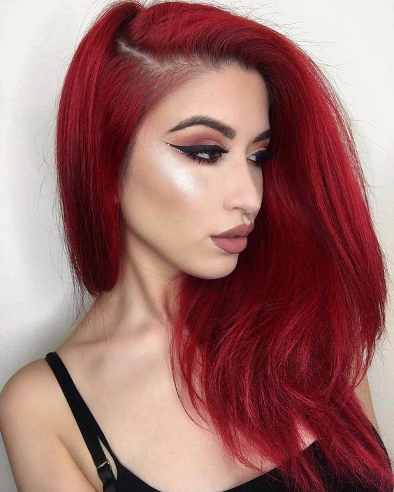Красные волосы - чистый холодный оттенок для длинных волос