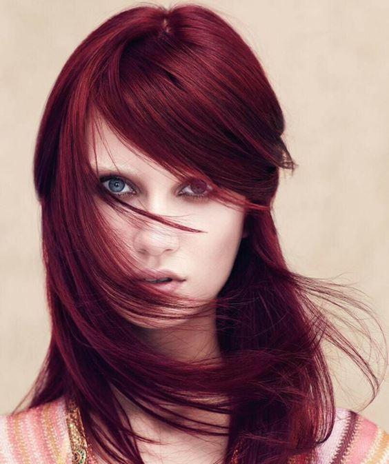 Красные волосы - длинные вишнёвые