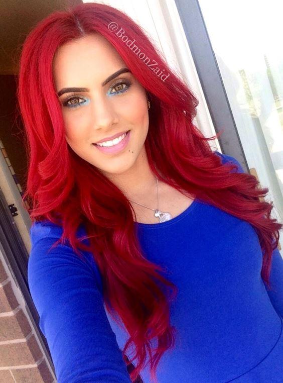 Красные волосы - яркие длинные карминово-малиновые локоны