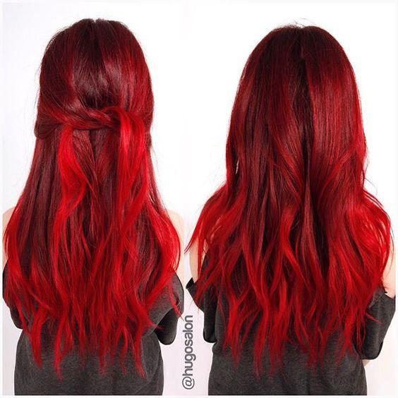 Красные волосы - яркий огненный для длинных легких локонов