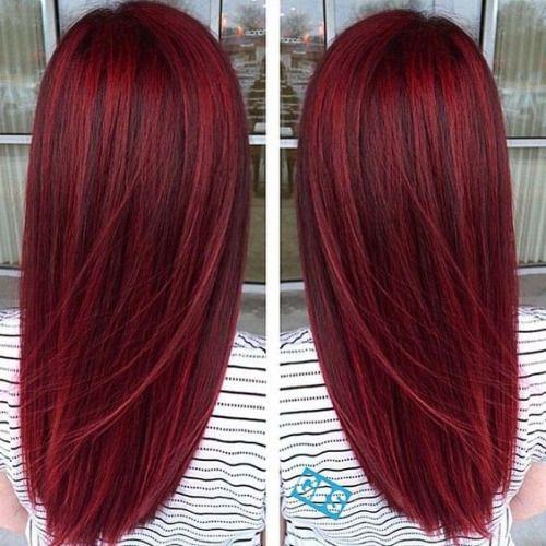 Красные волосы - прямые вишнёвые окрашивание балаяж