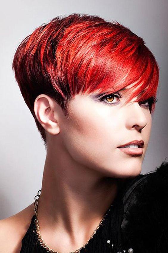 Красные волосы - короткая огненная стрижка пикси