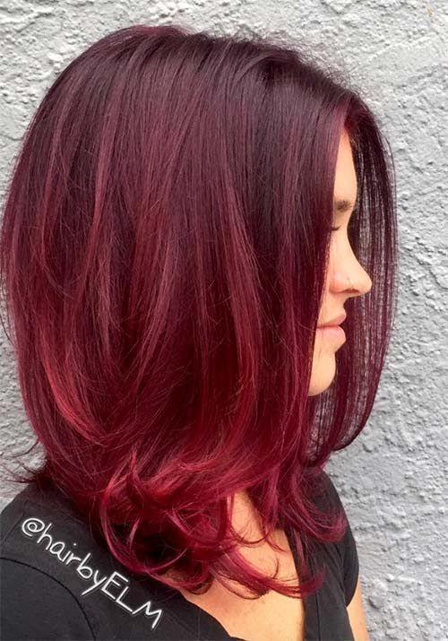 Красные волосы - винный оттенок для стрижки средней длины