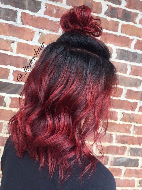 Красные волосы - рубиновый оттенок для омбре