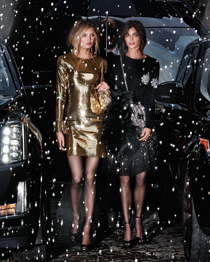 MICHAEL Michael Kors Holiday 2018 - золотое и черное платье с пайетками и кристаллами