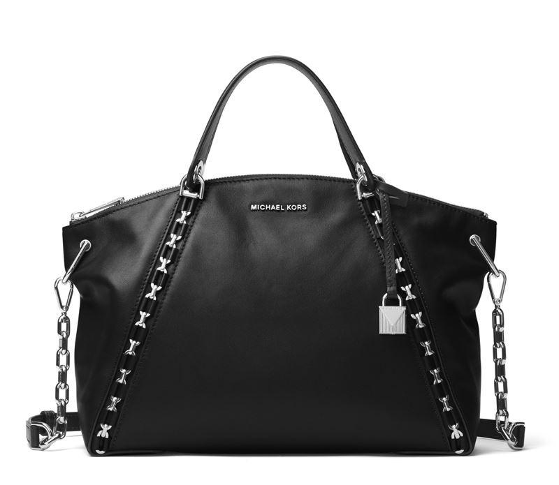 Сумка MICHAEL Michael Kors Sadie Bag - кожаная чёрная с металлической фурнитурой