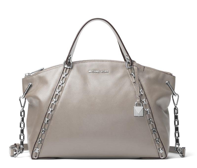 Сумка MICHAEL Michael Kors Sadie Bag - кожаная бежевая с металлической фурнитурой
