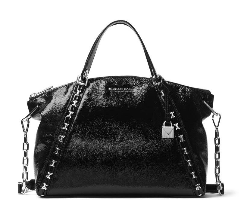 Сумка MICHAEL Michael Kors Sadie Bag - лаковая чёрная с металлической фурнитурой