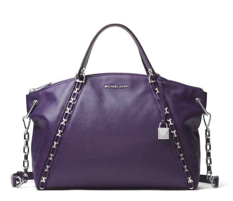 Сумка MICHAEL Michael Kors Sadie Bag - кожаная фиолетовая с металлической фурнитурой