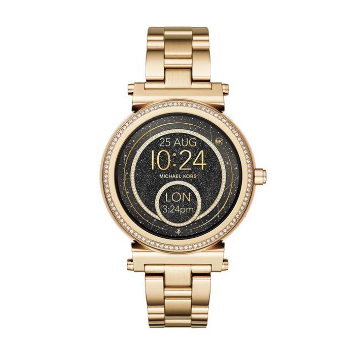 Michael Kors Sofie Smartwatch x Google Assistant - цвет жёлтое золото и чёрный циферблат