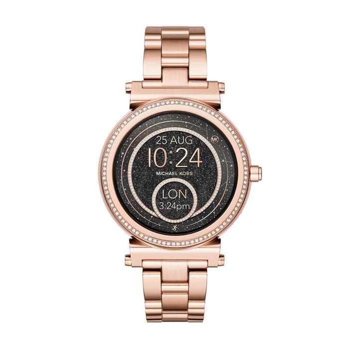 Michael Kors Sofie Smartwatch x Google Assistant - розовое золото и чёрный циферблат