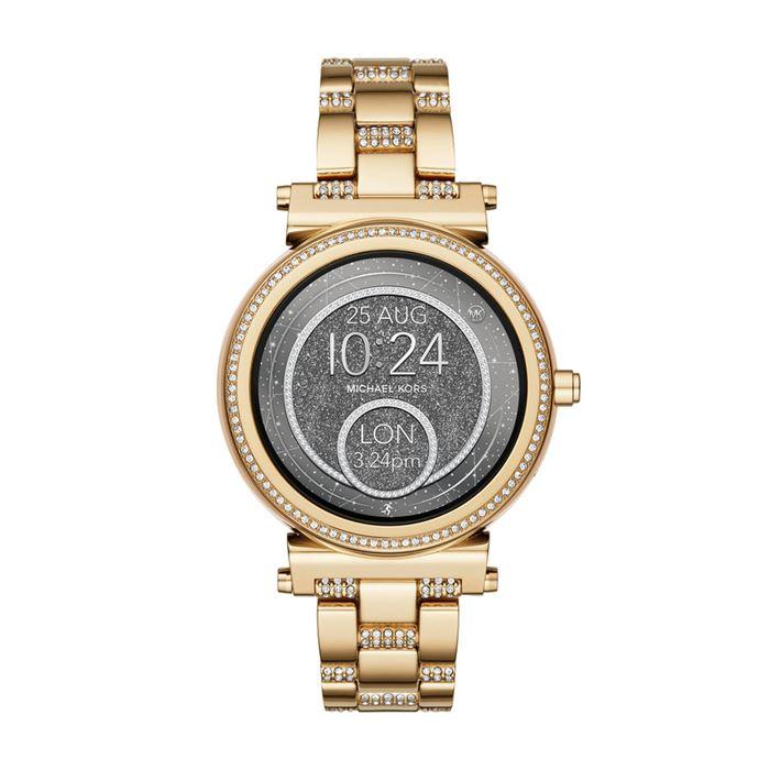 Michael Kors Sofie Smartwatch x Google Assistant - жёлтое золото, кристаллы и серый циферблат
