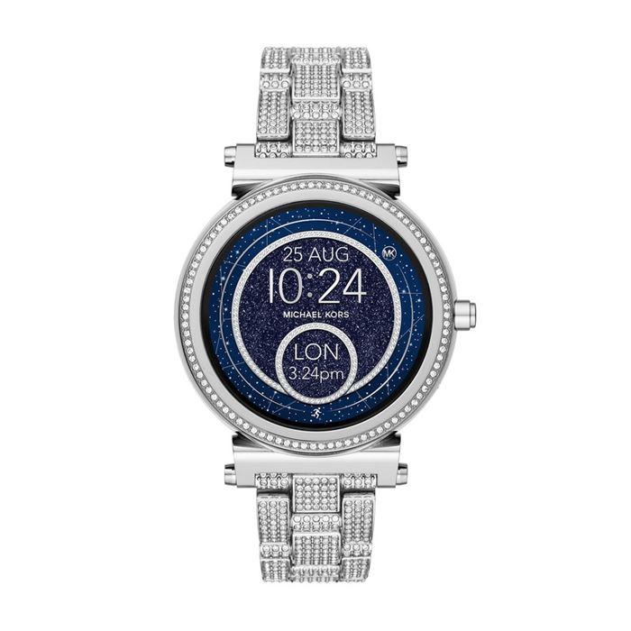 Michael Kors Sofie Smartwatch x Google Assistant - серебристая сталь, синий циферблат и кристаллы