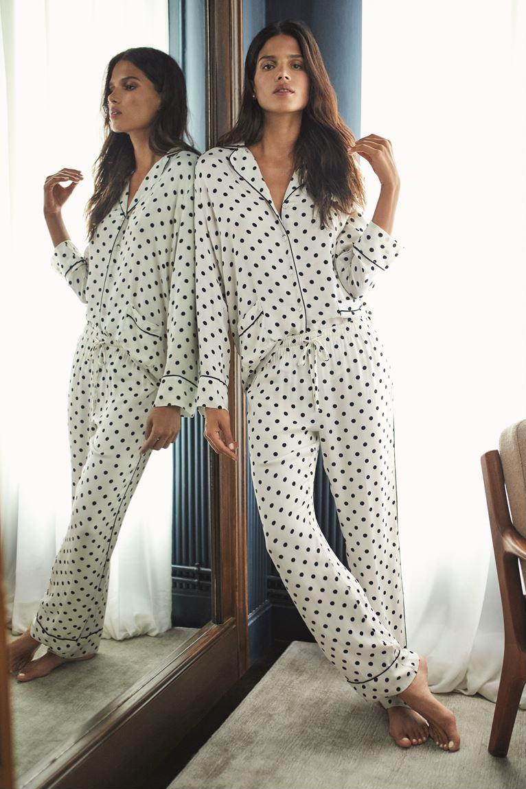 Women'secret - пижама белая в черный горошек