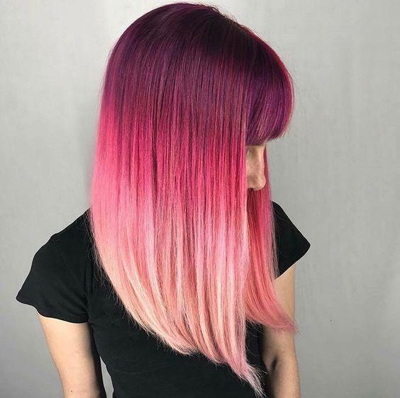 Розовые волосы: яркое омбре на гладких волосах