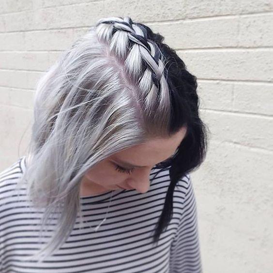 Серые волосы: боб-каре на серо-чёрных волосах