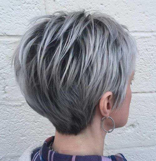 Серые волосы: классическая стрижка пикси