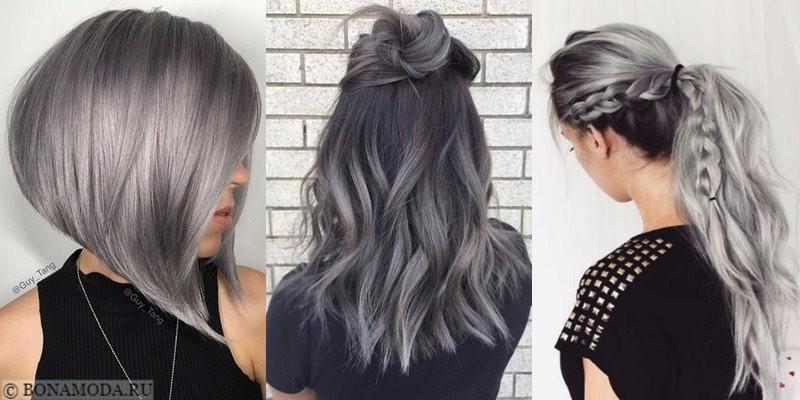 Серые волосы: стрижки, причёски, укладки