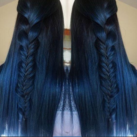 Синие волосы - длинные с толстой косой