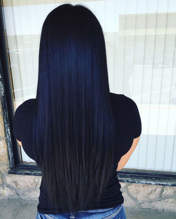 Синие волосы - длинные прямые тёмно-синие
