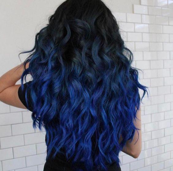 Синие волосы - длинные кудри и стиль омбре