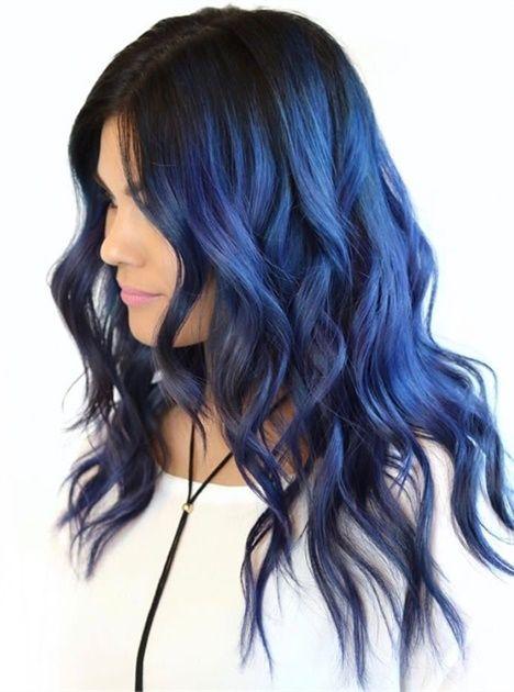 Синие волосы - длинные пляжные локоны