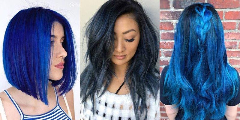 Синие волосы - фото девушек