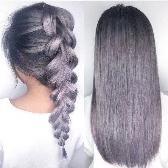Сиреневые и лиловые волосы: серо-сиреневая коса и прямые волосы
