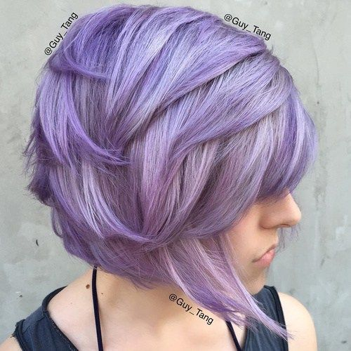 Сиреневые и лиловые волосы: короткая стрижка боб
