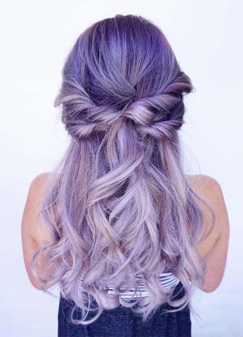 Сиреневые и лиловые волосы: длинные локоны омбре
