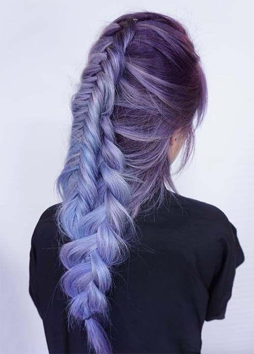 Сиреневые и лиловые волосы: длинная обратная коса-колосок