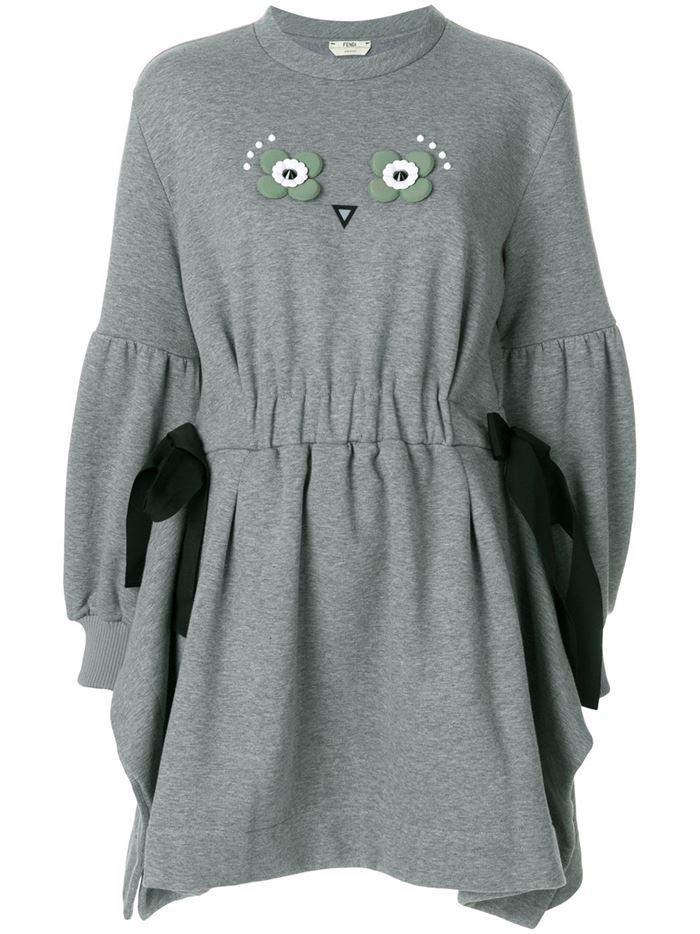 Тёплые вязаные платья-свитер 2018 - серая короткая приталенная туника