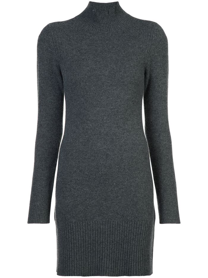 Тёплые вязаные платья-свитер 2018 - серый гладкий трикотаж делового стиля