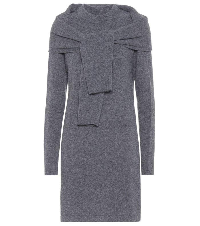 Тёплые вязаные платья-свитер 2018 - серое с рукавами из гладкого трикотажа