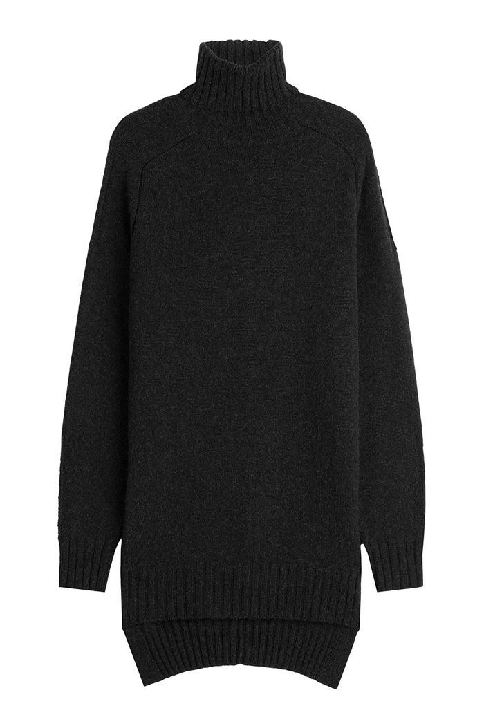 Тёплые вязаные платья-свитер 2018 - чёрное оверсайз с высоким горлом