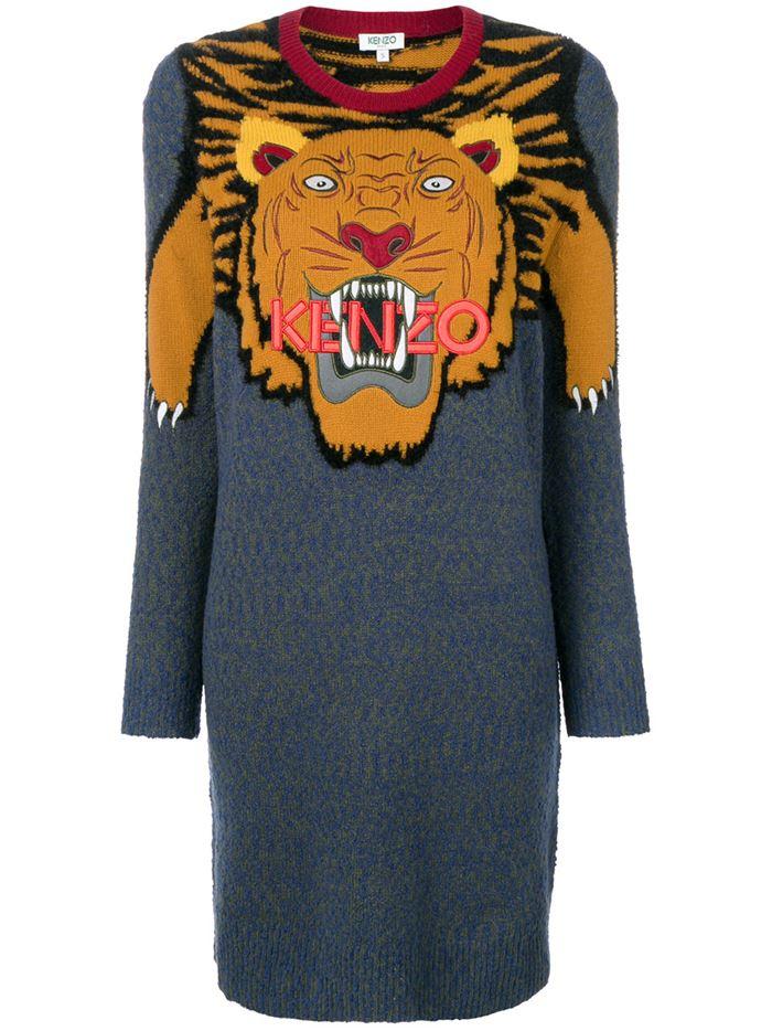 Тёплые вязаные платья-свитер 2018 - серое с принтом головой тигра