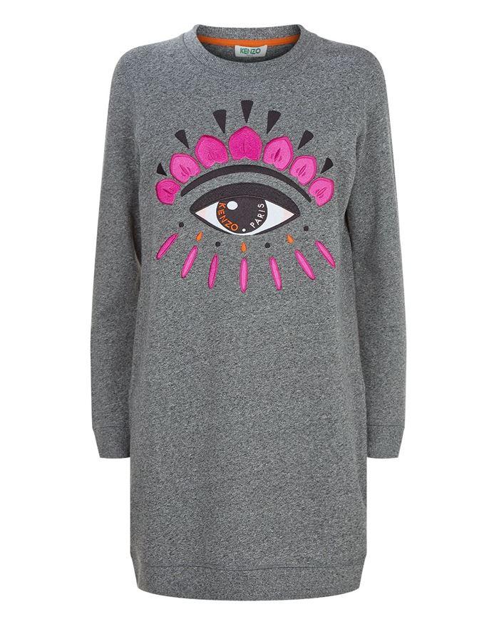 Тёплые вязаные платья-свитер 2018 - простое серое с глазом