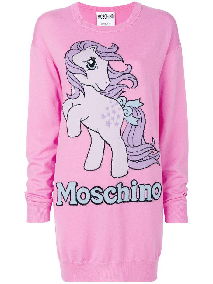 Тёплые вязаные платья-свитер 2018 - ярко-розовое с принтом пони