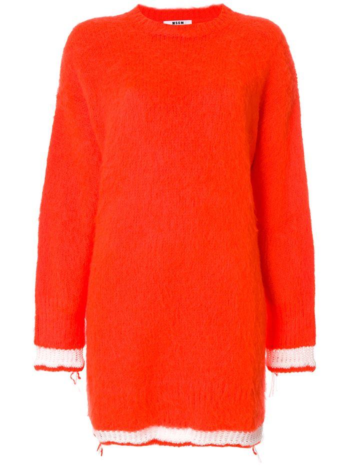 Тёплые вязаные платья-свитер 2018 - ярко-оранжевое с белой отделкой манжет и кромки