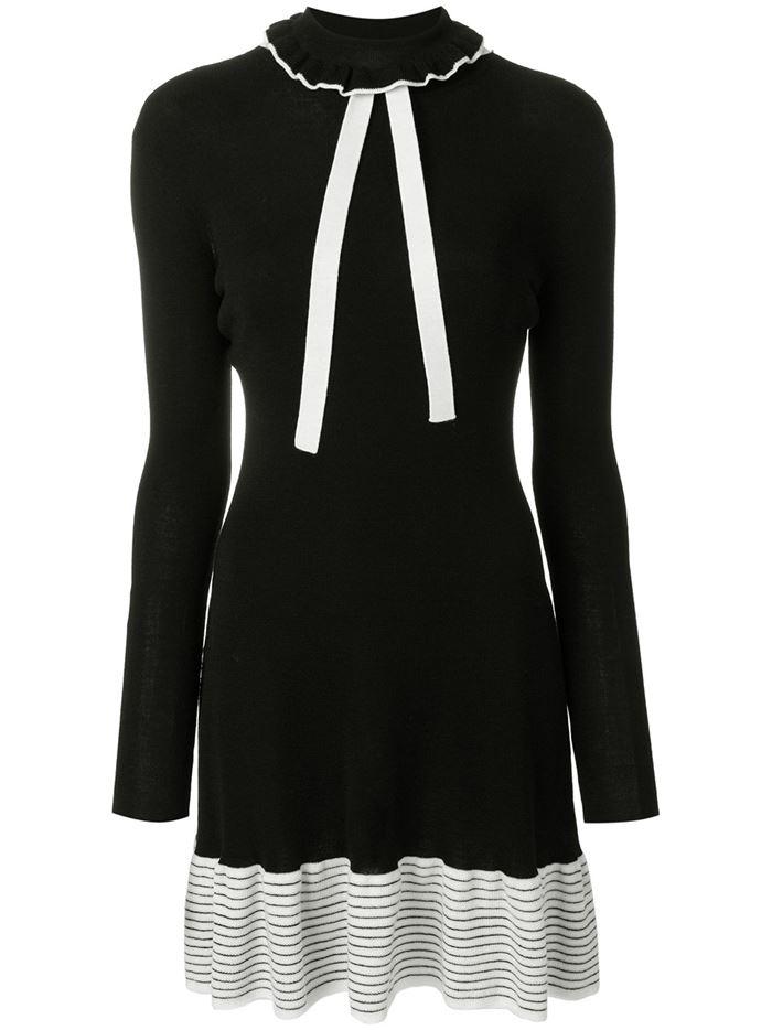 Тёплые вязаные платья-свитер 2018 - чёрно-белое винтажное