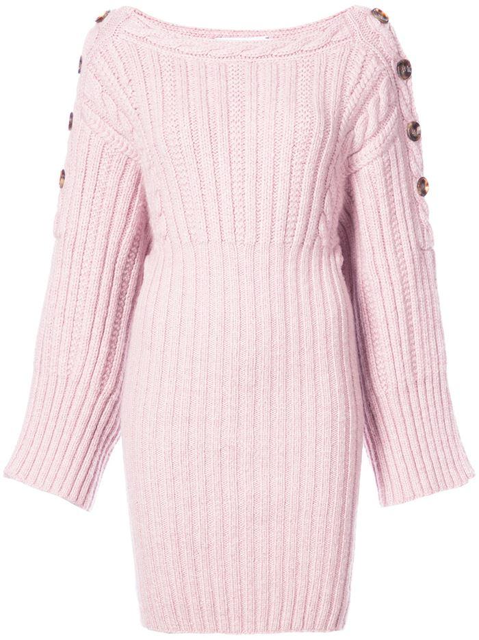 Тёплые вязаные платья-свитер 2018 - короткие бледно-розовое