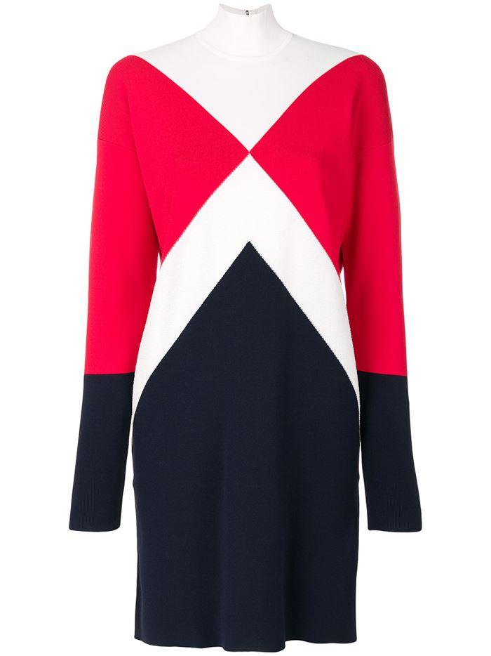Тёплые вязаные платья-свитер 2018 - черно-красно-синее колор блок в спортивном стиле