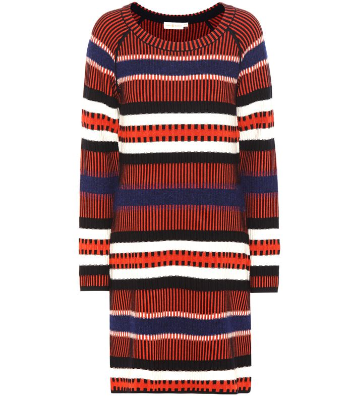 Тёплые вязаные платья-свитер 2018 - круглый воротник и горизонтальная полоска